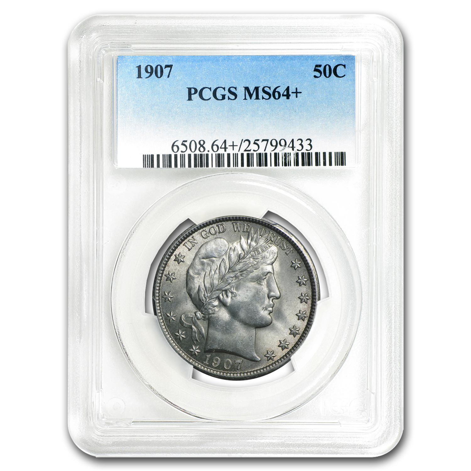 1907 Barber Half Dollar MS-64+ PCGS