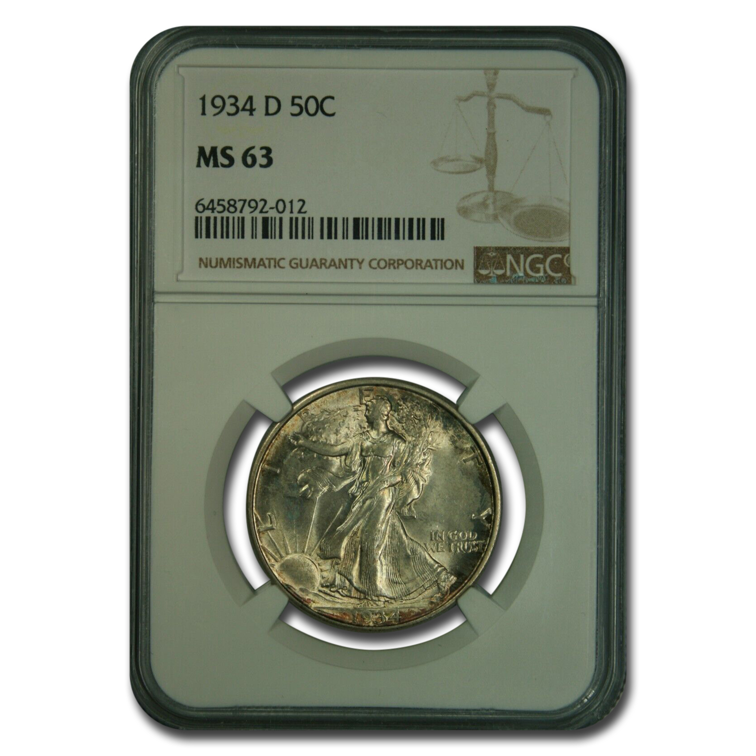 1934-D Walking Liberty Half Dollar MS-63 NGC