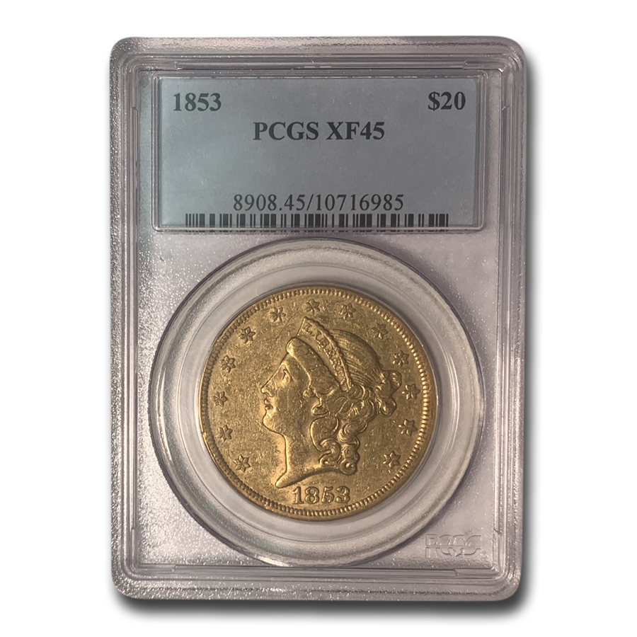 1853 $20 Liberty Gold Double Eagle XF-45 PCGS