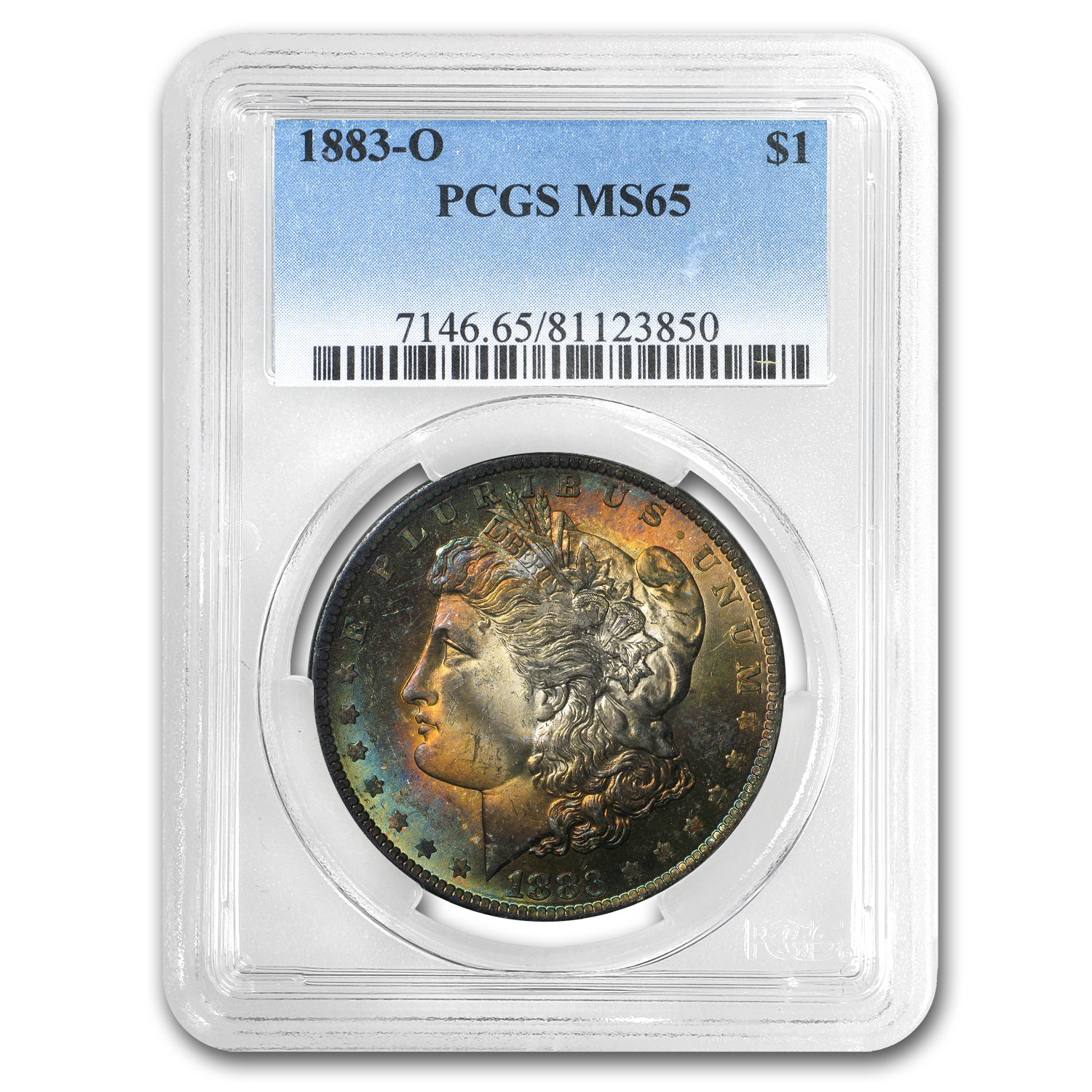 1883-O Morgan Dollar MS-65 PCGS (Beautiful Obv Toning)