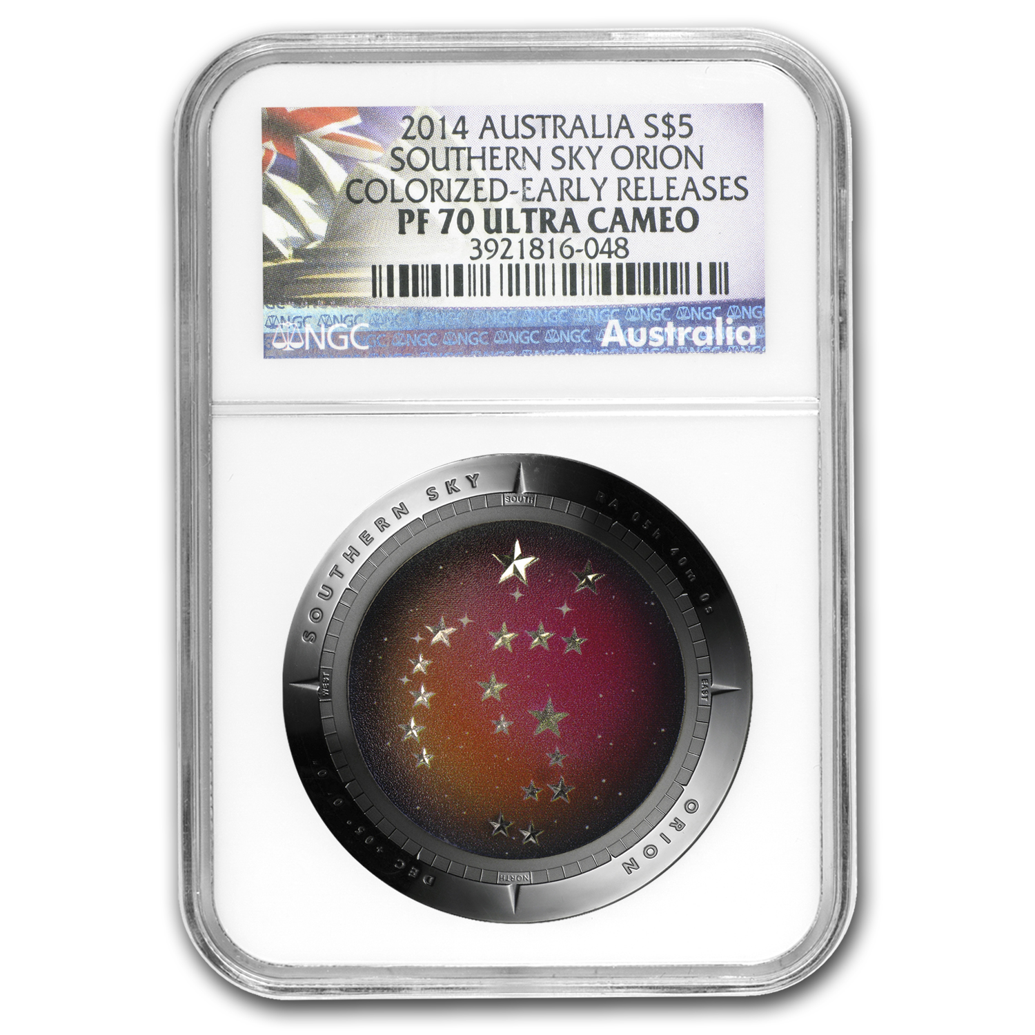 2014 Australia Silver $5 Color Domed Southern Sky Orion PF-70 NGC