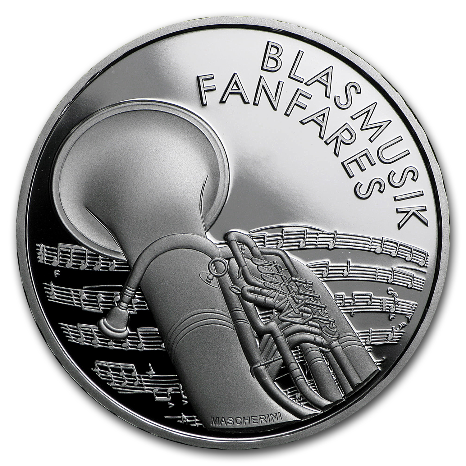 2016 Switzerland Proof Silver 20 CHF Brass Bands