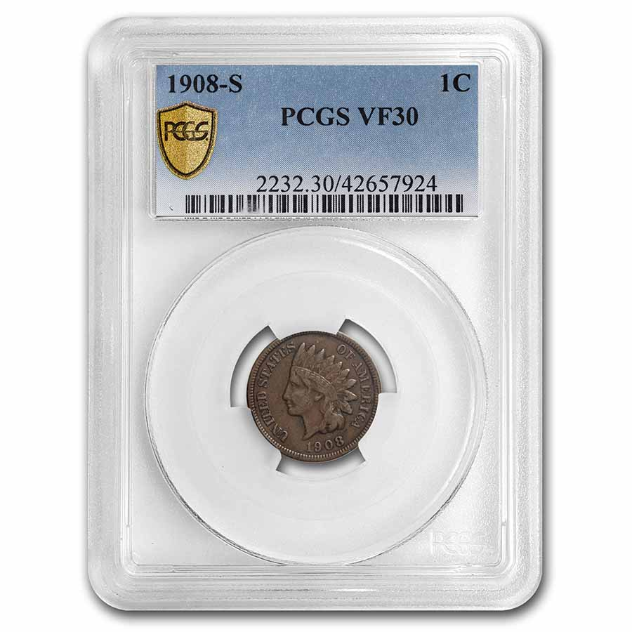 1908-S Indian Head Cent VF-30 PCGS