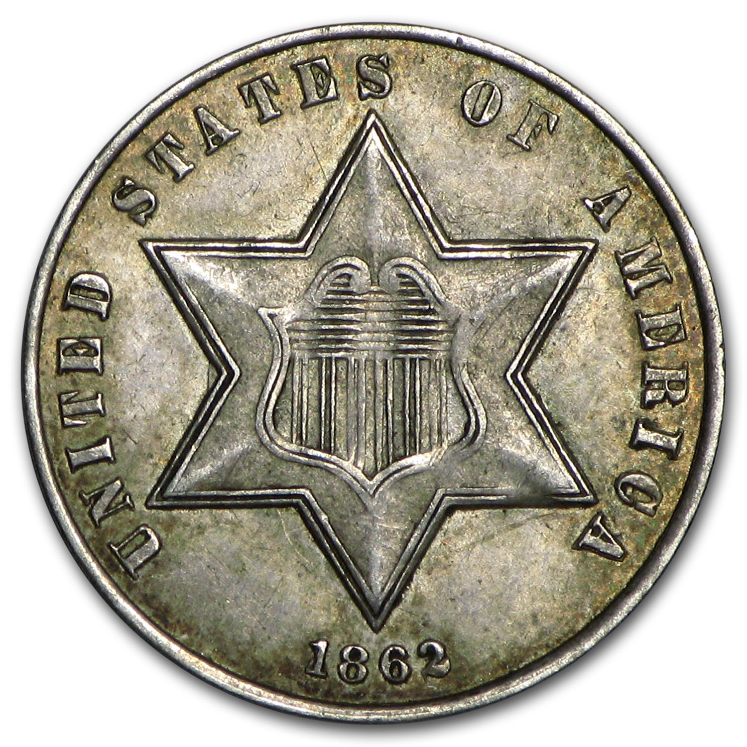 1862 Three Cent Silver XF-45