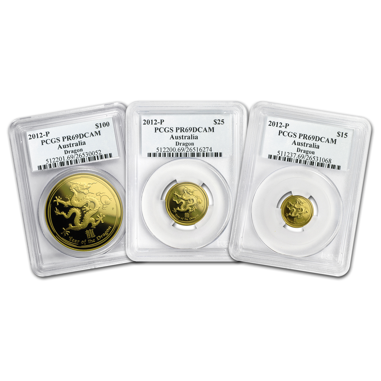 2012 Australia 3-Coin Gold Dragon Proof Set PR-69 PCGS