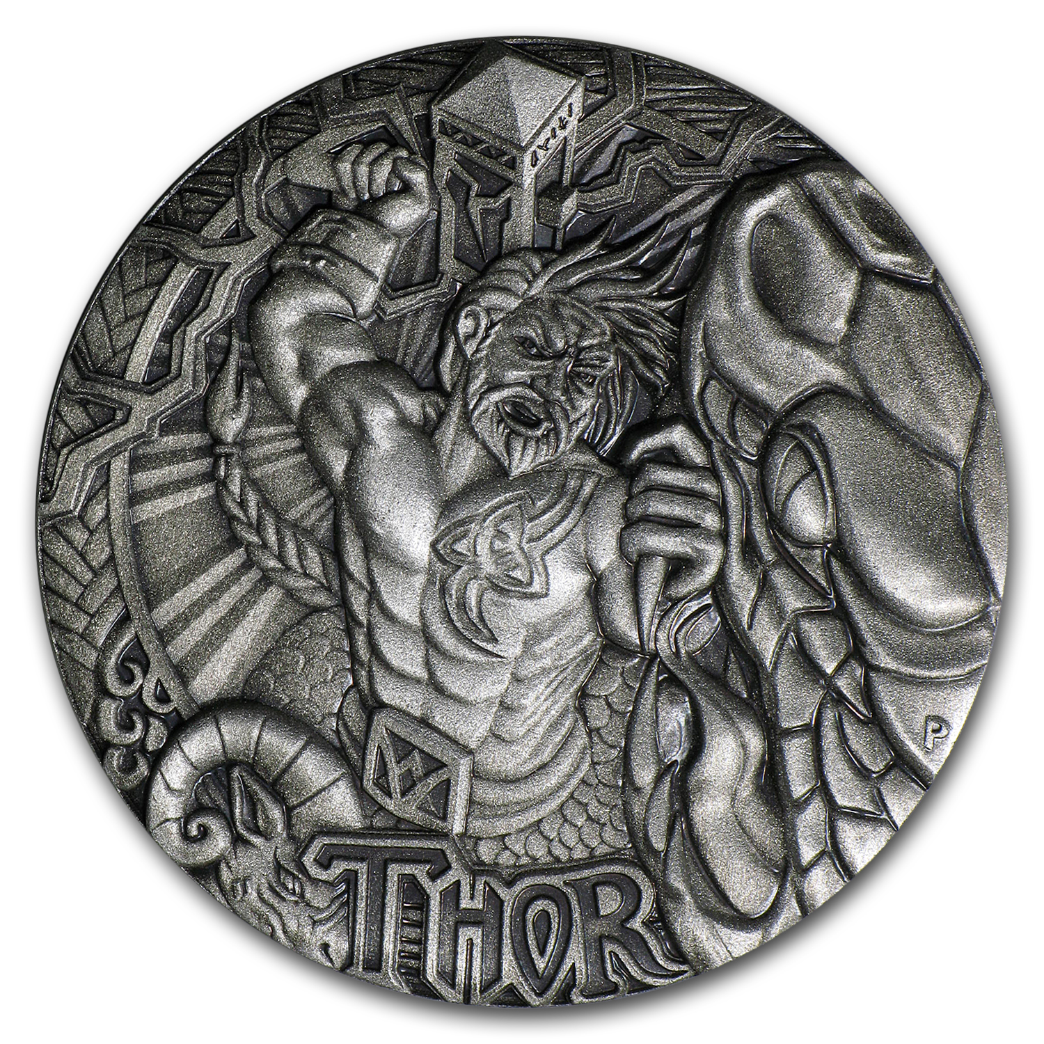 2016 Tuvalu 2 oz Silver Norse Gods Thor BU (High Relief)
