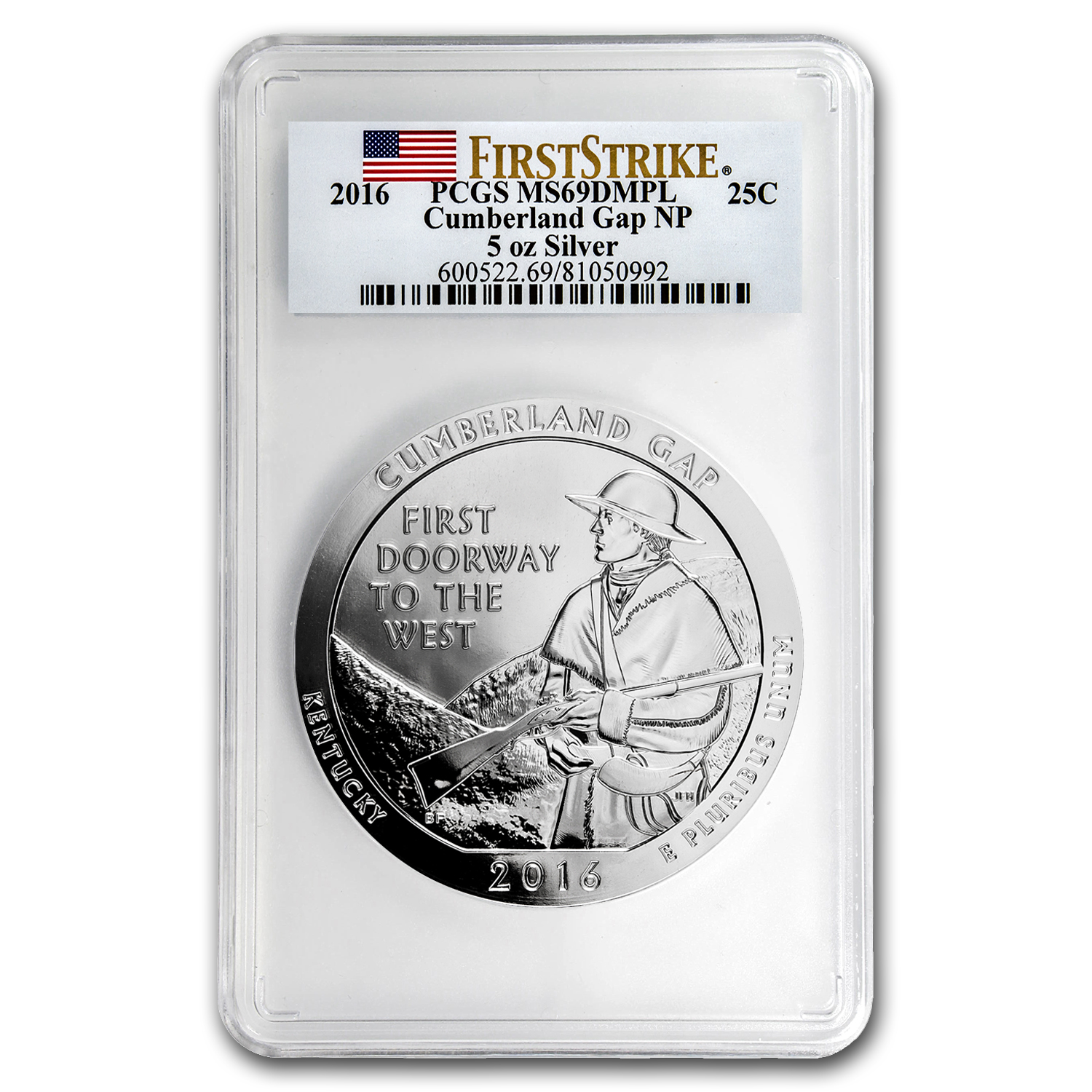2016 5 oz Silver ATB Cumberland MS-69 DMPL PCGS (First Strike)
