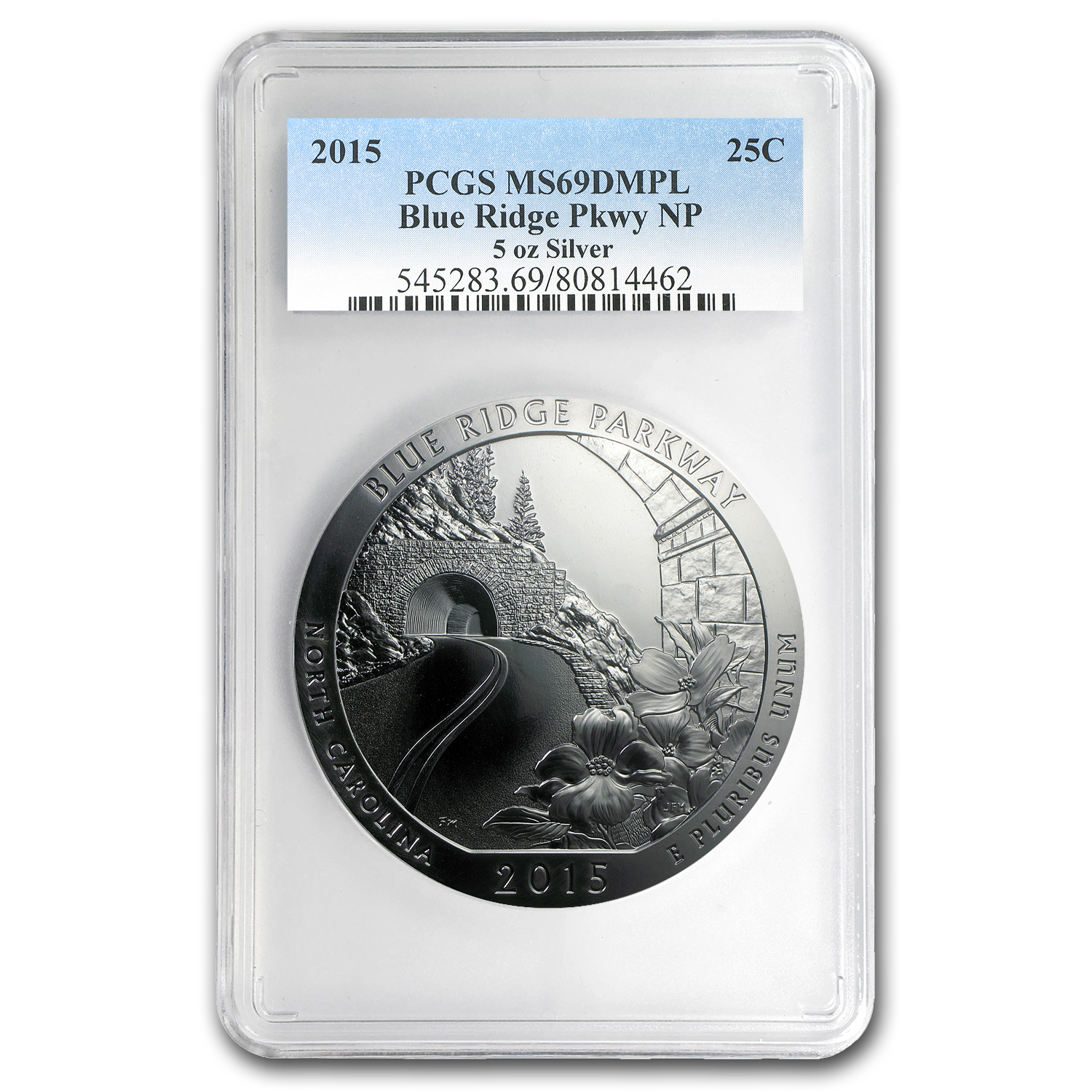 2015 5 oz Silver ATB Blue Ridge MS-69 DMPL PCGS
