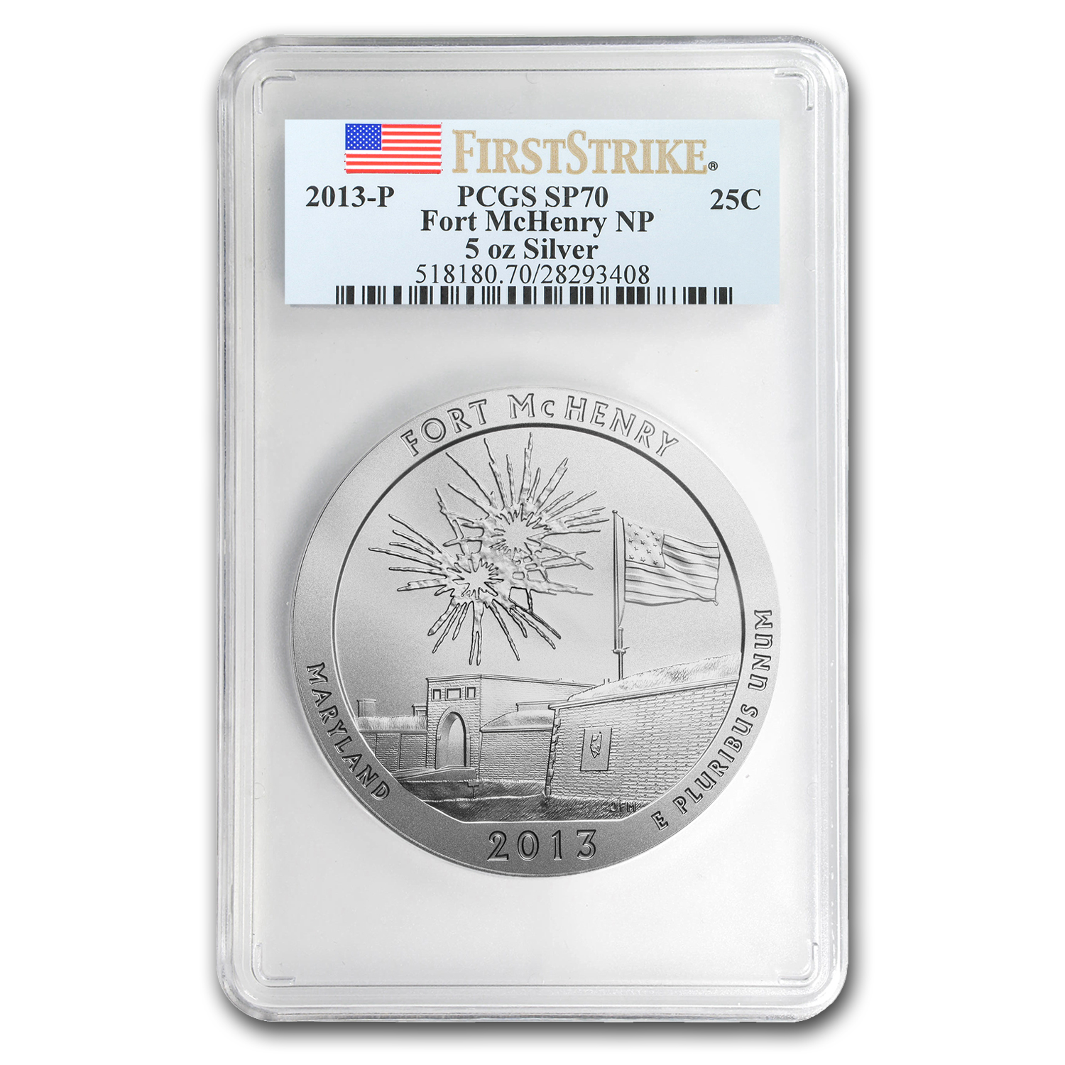 2013-P 5 oz Silver ATB Fort McHenry SP-70 PCGS (First Strike)