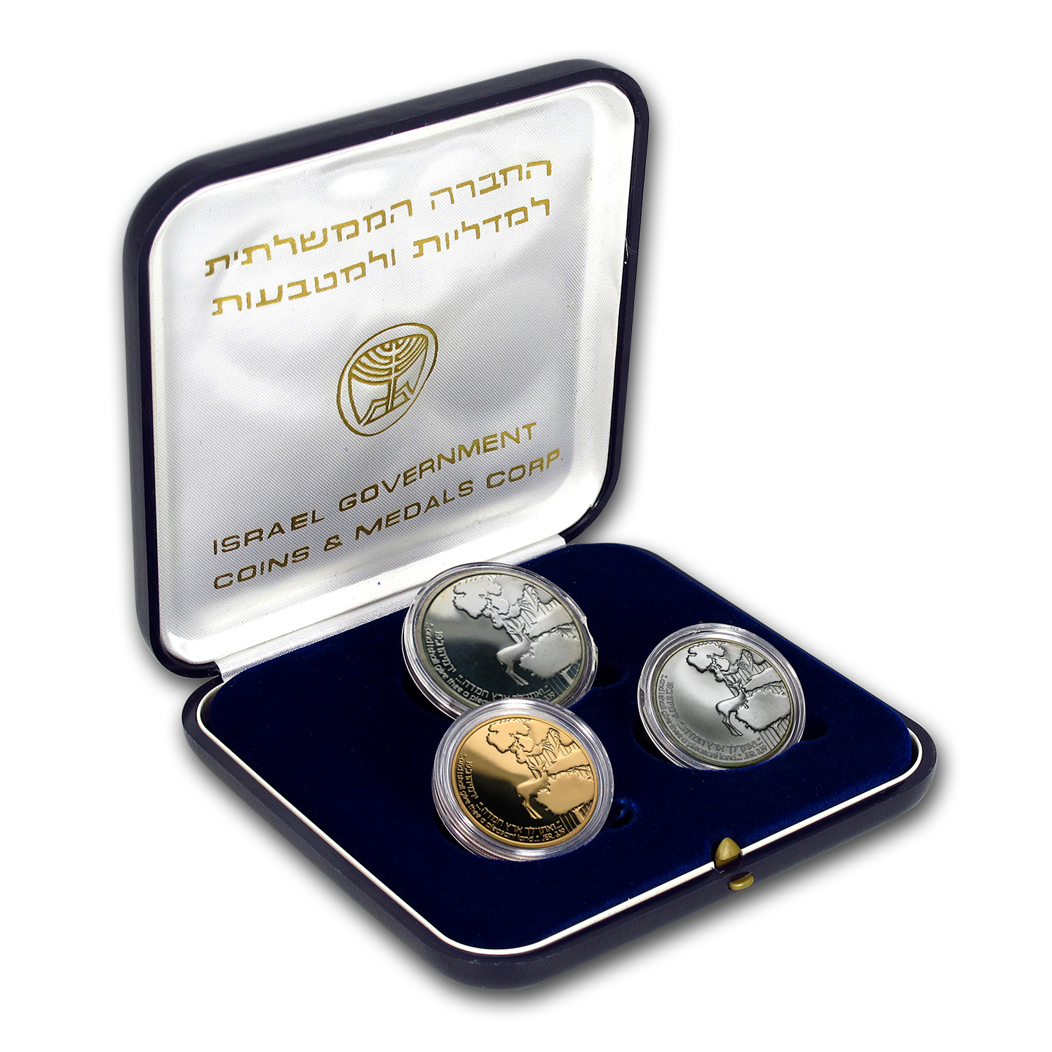 1989 Israel 3-Coin Gold & Silver Promised Land 41st Anniv, Set