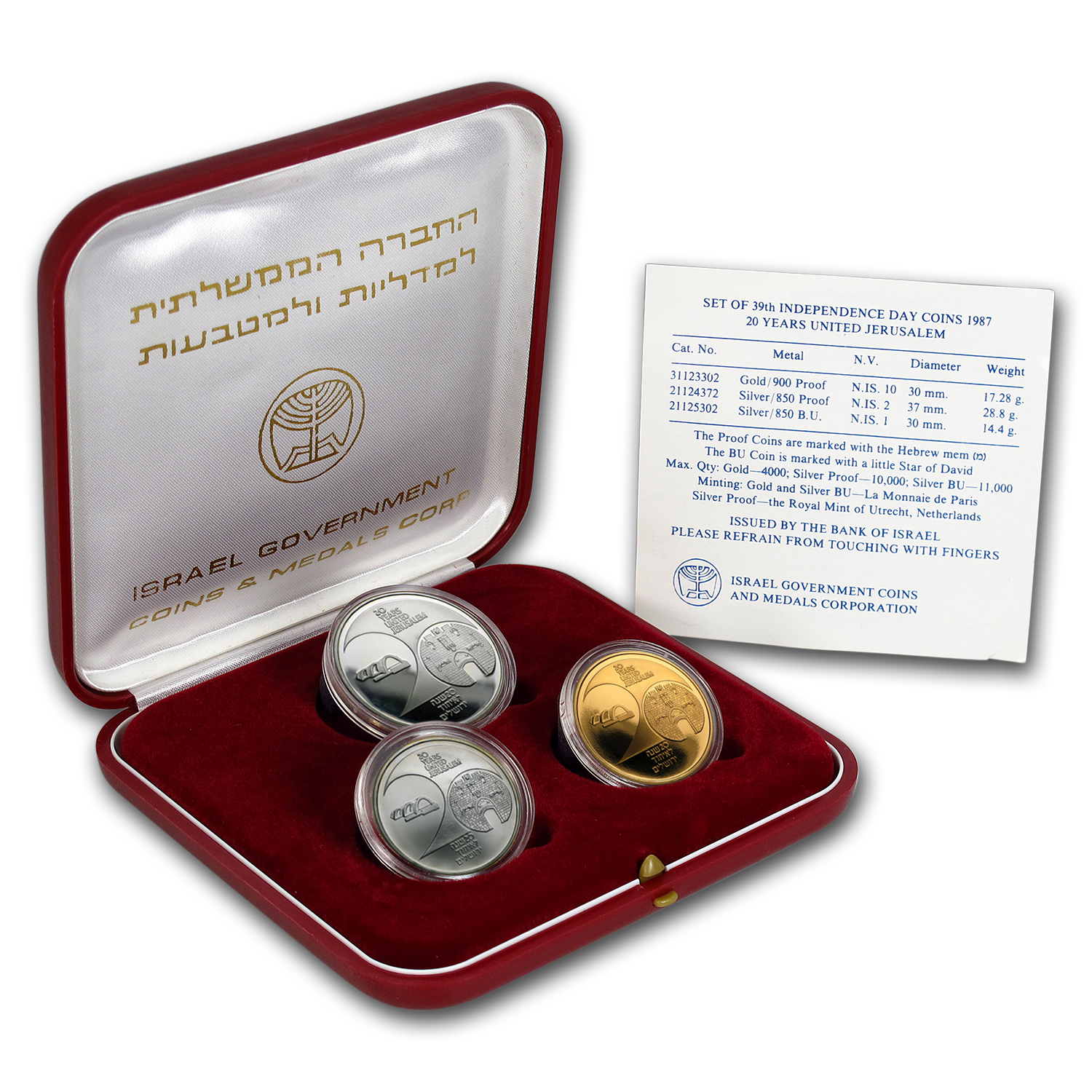 1987 Israel 3-Coin Gold & Silver 20th Anniversay of Jerusalem Set
