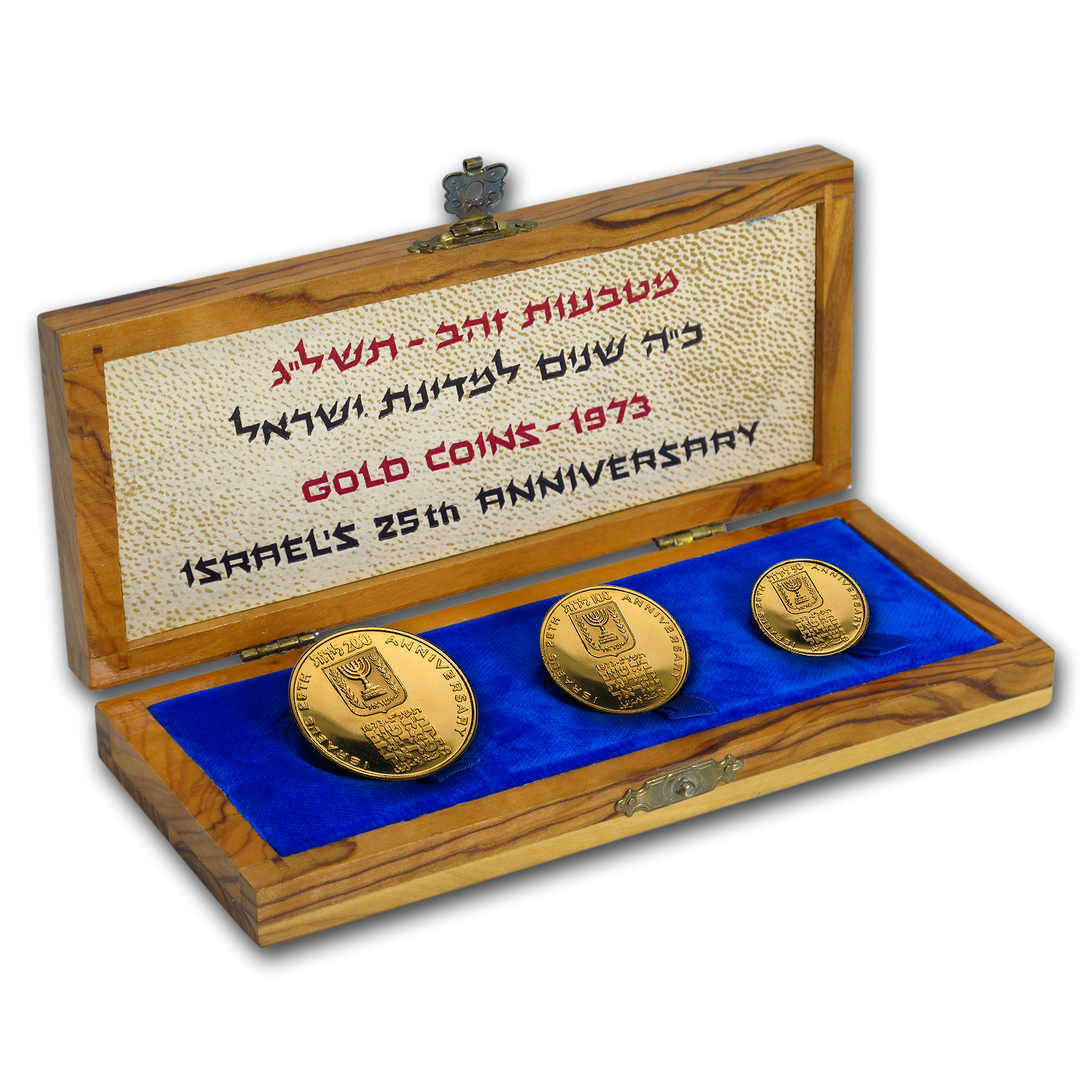 1973 Israel 3-Coin Proof Gold 50/100/200 Lirot 25th Anniv Set