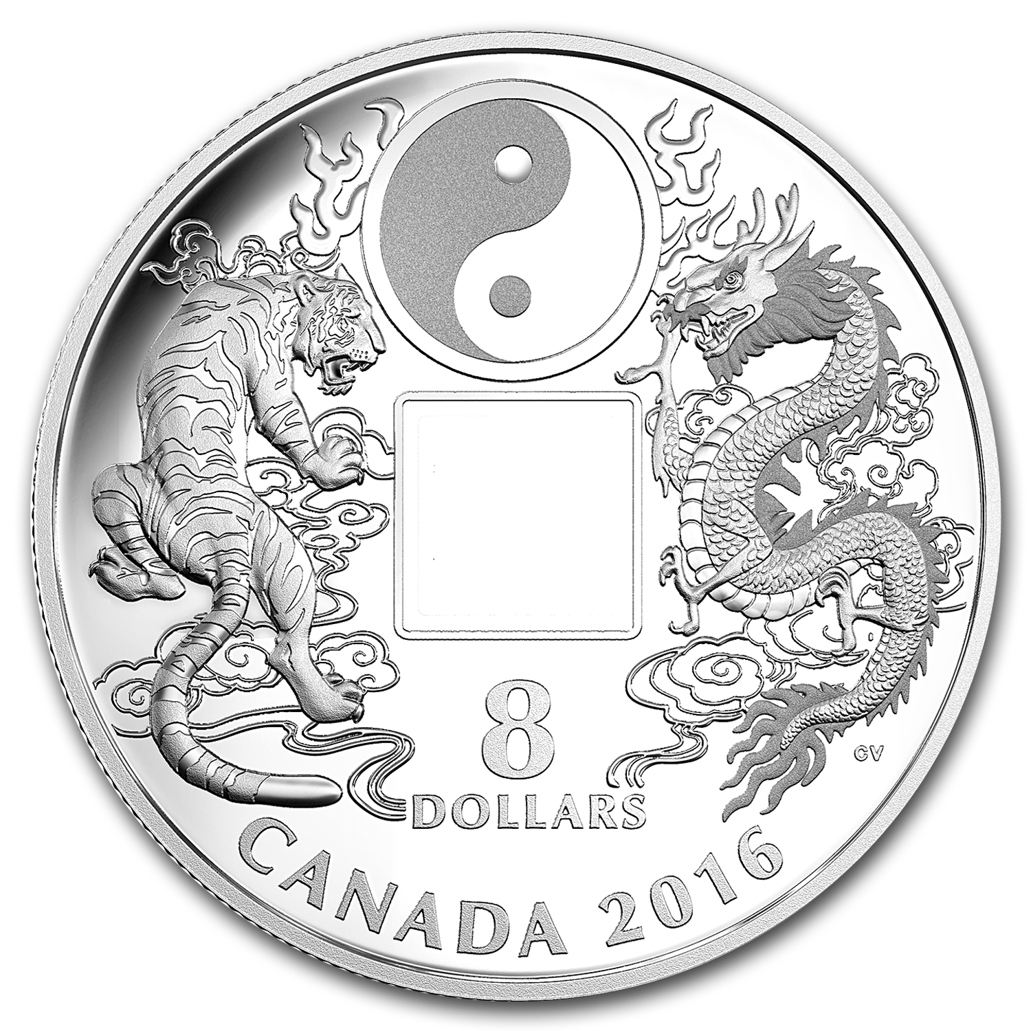 2016 Canada 2/3 oz Silver $8 Tiger and Dragon (Yin and Yang)