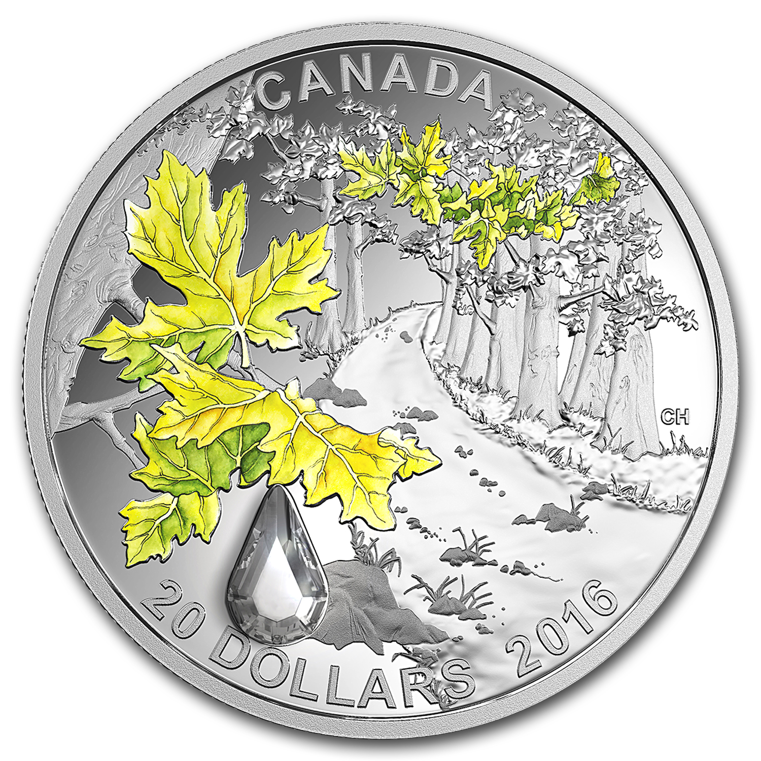 2016 Canada 1 oz Silver $20 Jewel of the Rain: Bigleaf Maple
