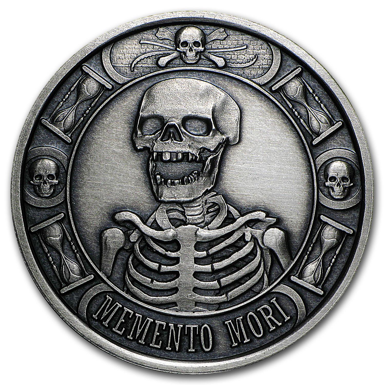 1 Oz Silver Round Memento Mori Antique Finish