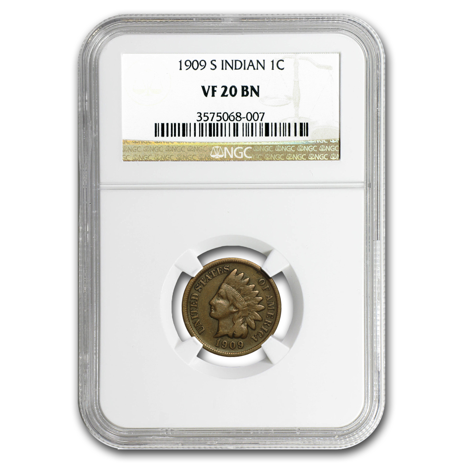 1909-S Indian Head Cent VF-20 NGC