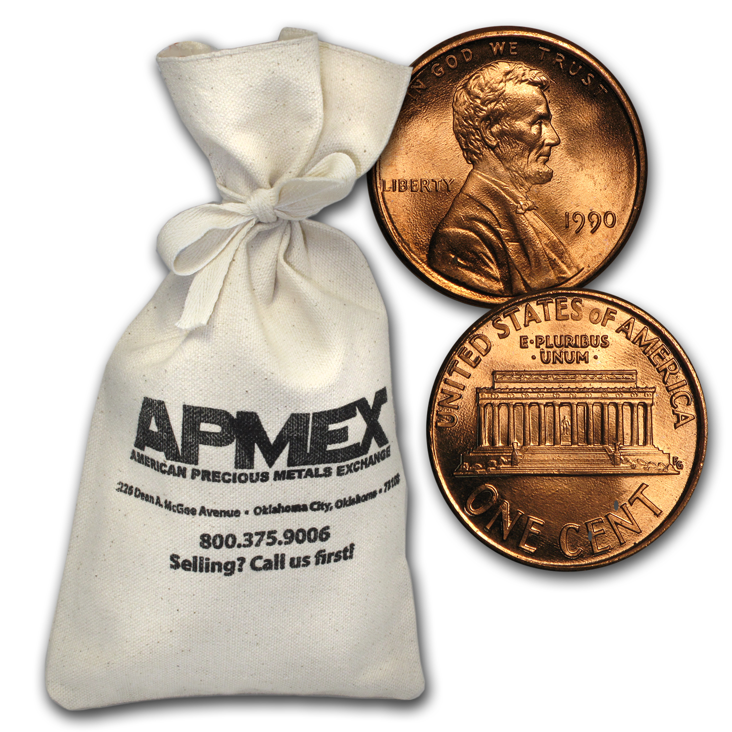 1990 Lincoln Memorial Cent $50.00 Bag BU (RED)