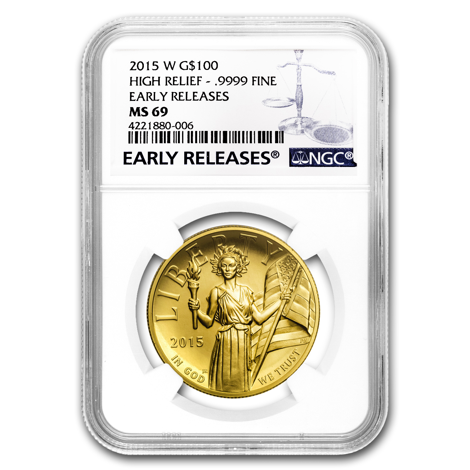 2015 High Relief American Liberty Gold MS-69 NGC (ER/FR)