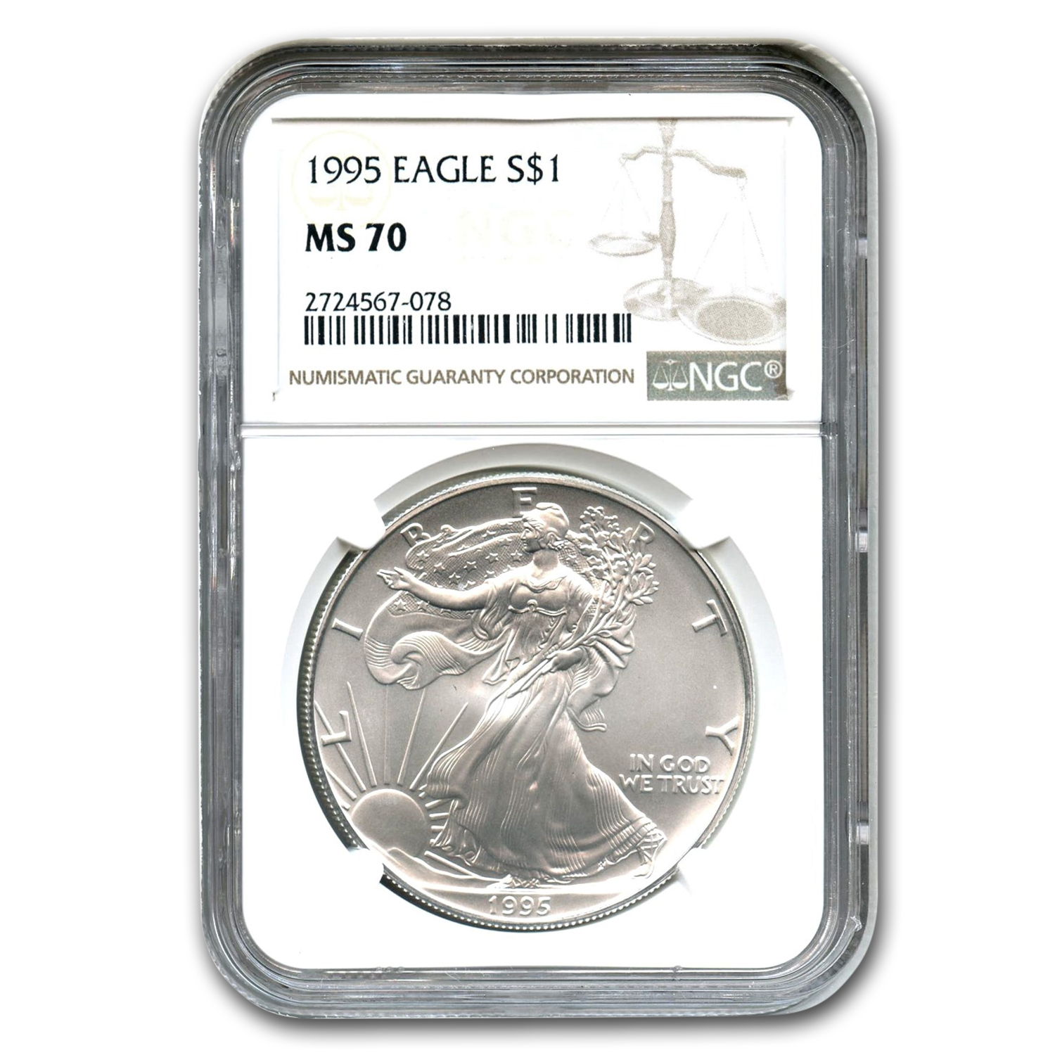 1995 Silver American Eagle MS-70 NGC (Registry Set)