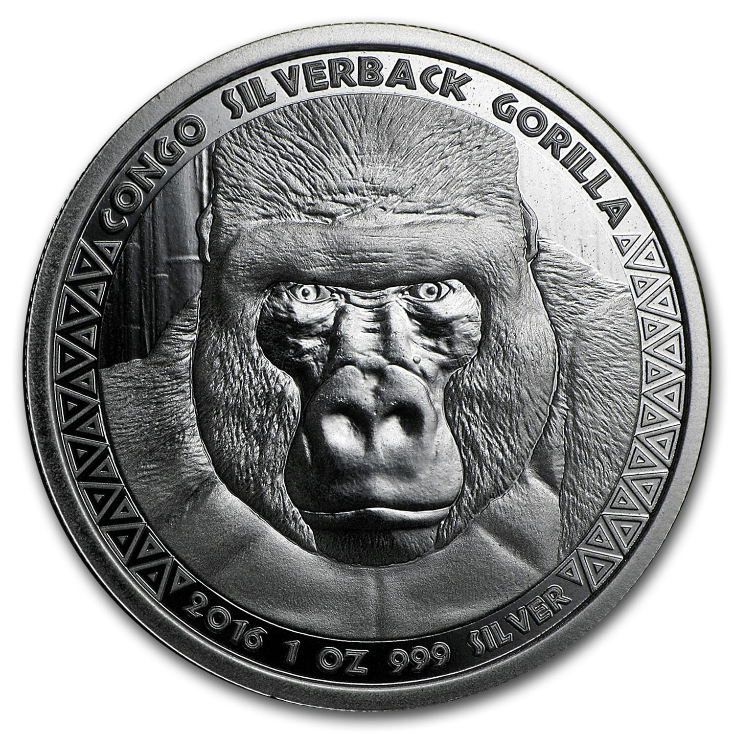 2016 Republic of Congo Silver 1 oz Silverback Gorilla (Prooflike)