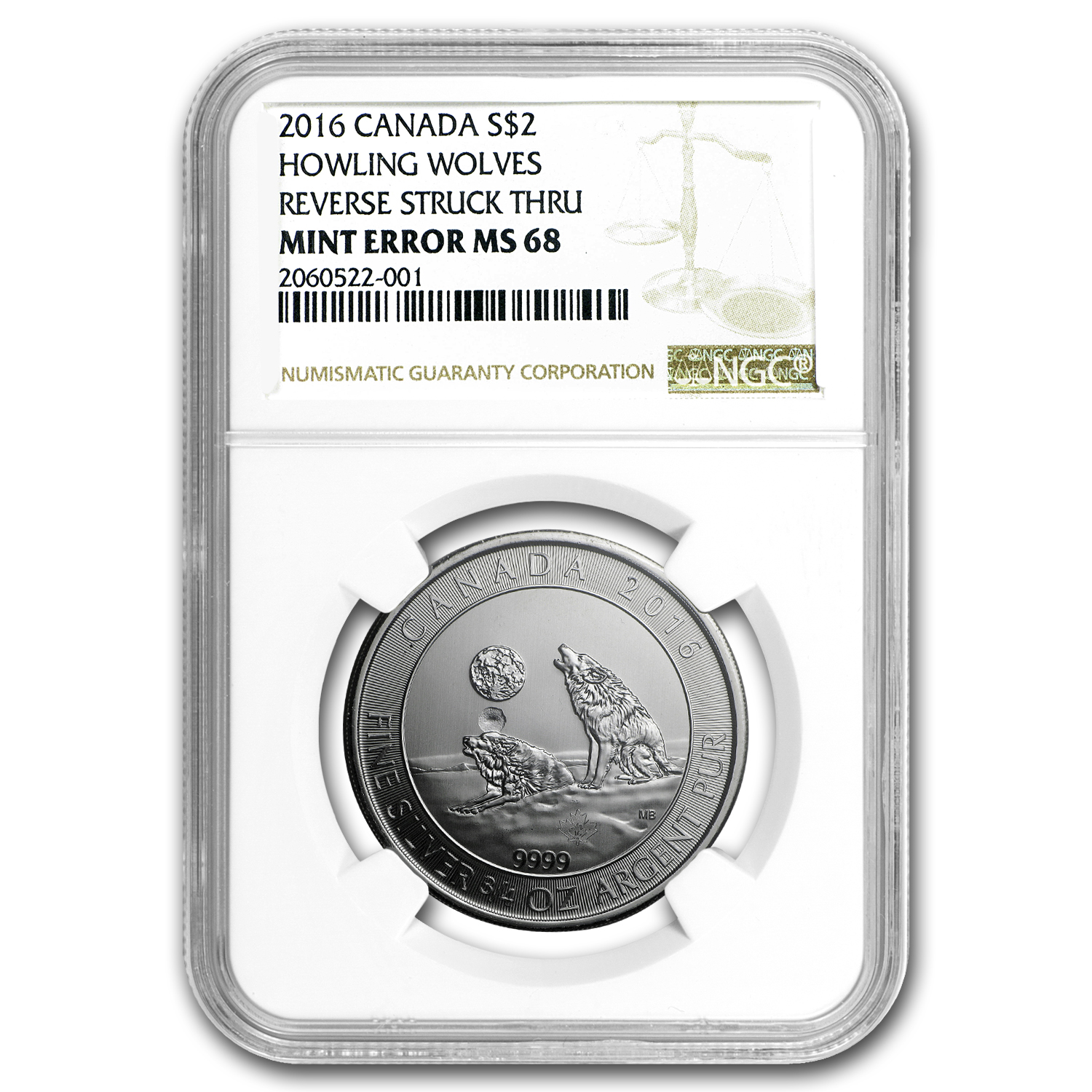 2016 Canada 3/4 oz Silver Howling Wolves MS-68 NGC (Mint Error)