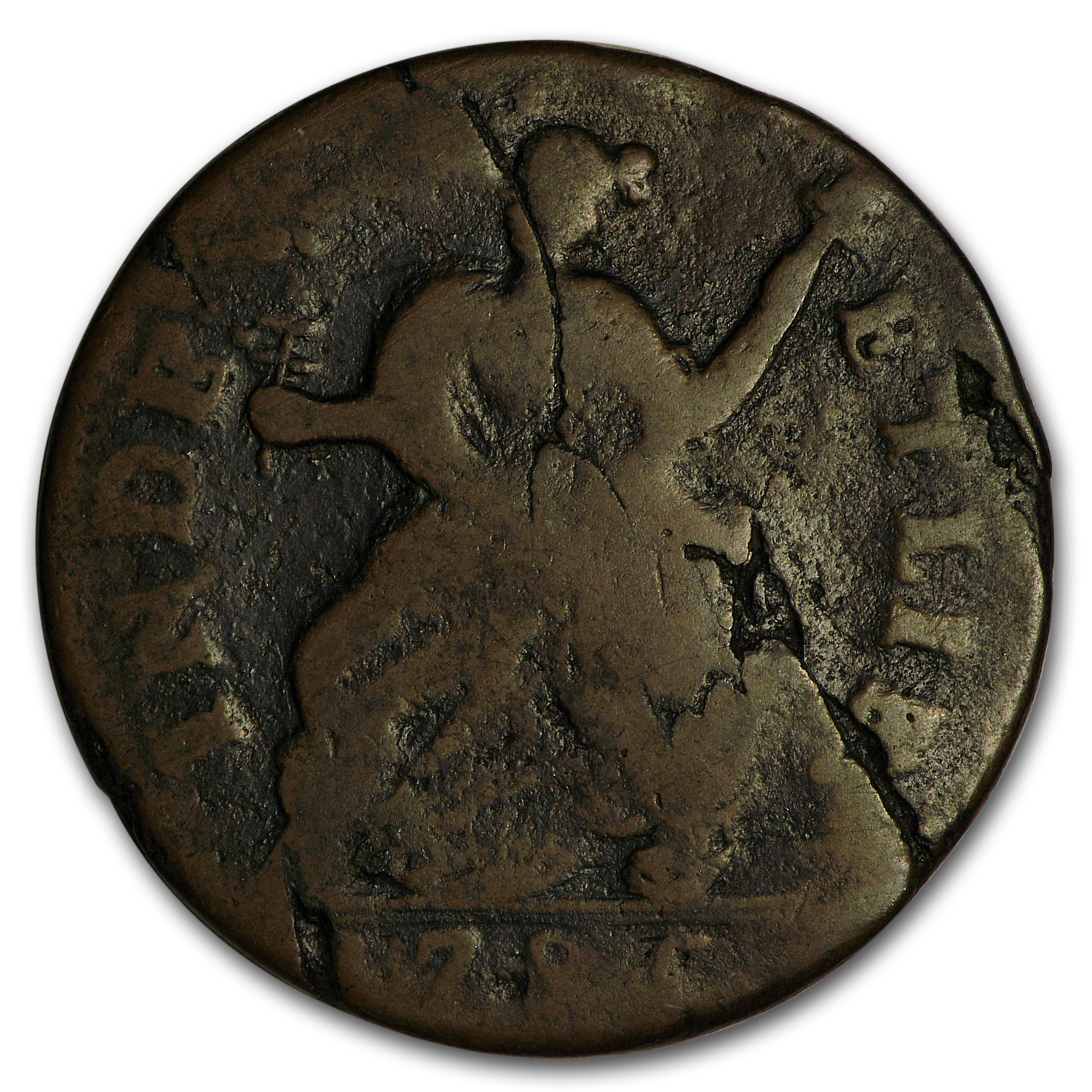 1785 Connecticut Copper Cent M3.2-L R-4 VG