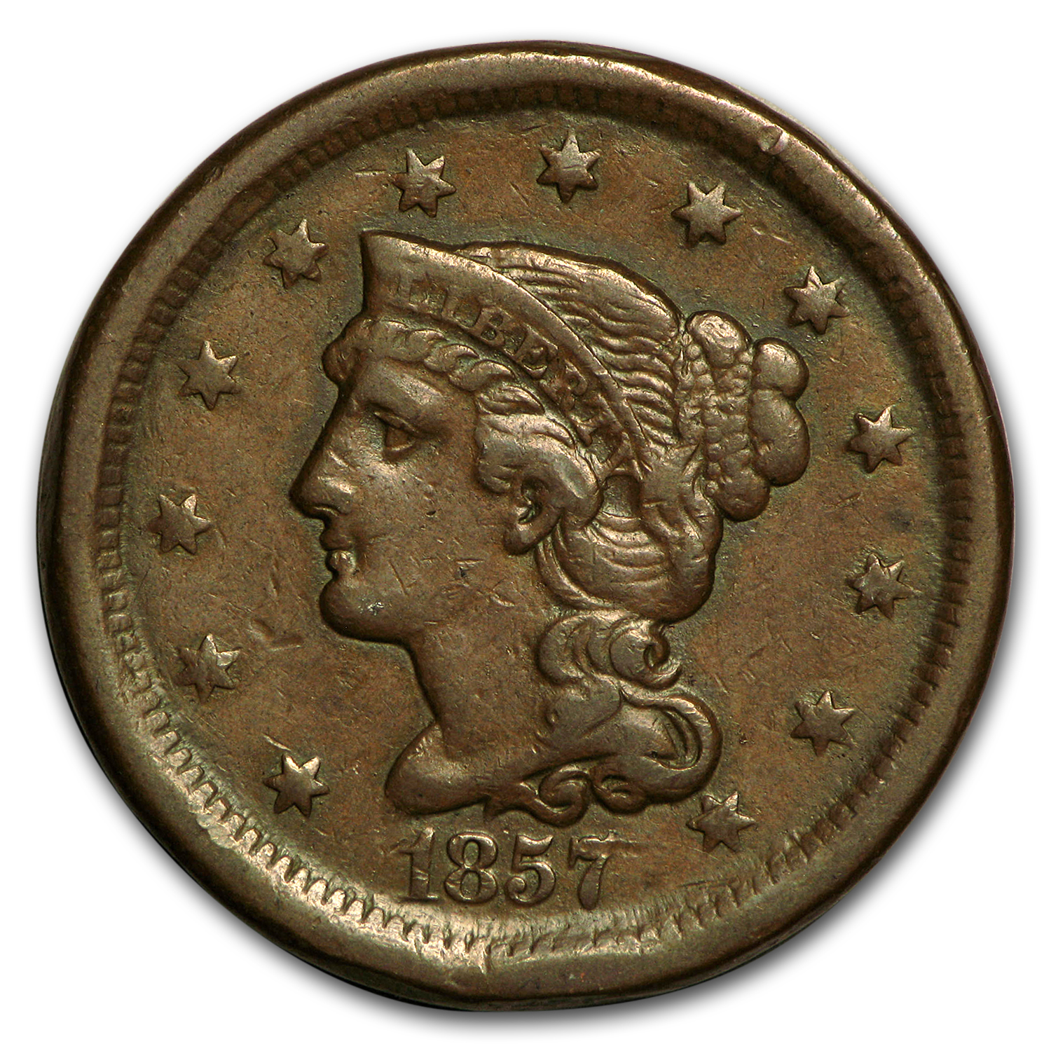 1857 Large Cent Sm Date VF