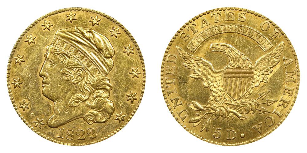 1822 capped bust Gold half eagle