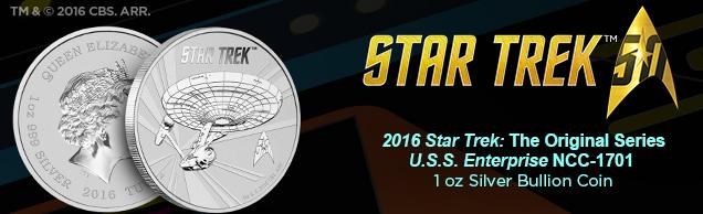 2016 star trek enterprise 1 ounce Silver bullion coin