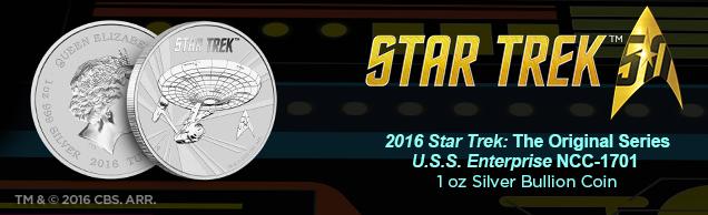star trek u.s.s. enterprise 1 ounce Silver bullion coin