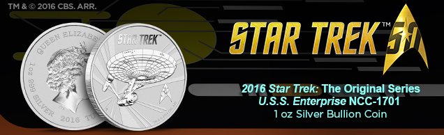 2016 star trek u.s.s. enterprise 1 ounce Silver bullion coin