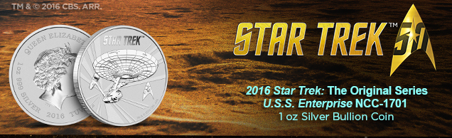2061 star trek u.s.s. enterprise 1 ounce Silver bullion coin
