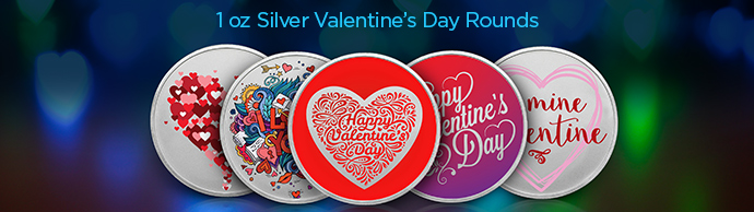 1 Ounce Silver Valentine's Day Rounds