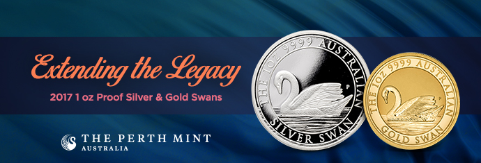 2017 1 Ounce Proof Silver & Gold Swans
