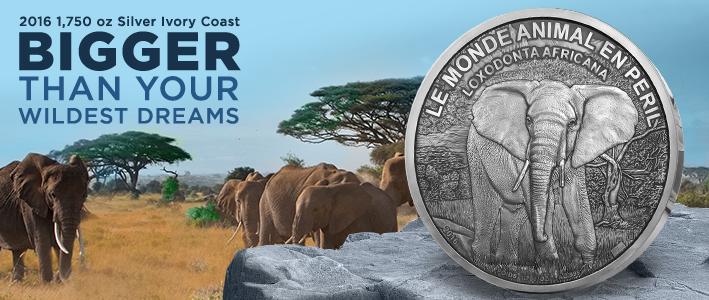 2016 1,750 Ounce Silver Ivory Coast Elephant