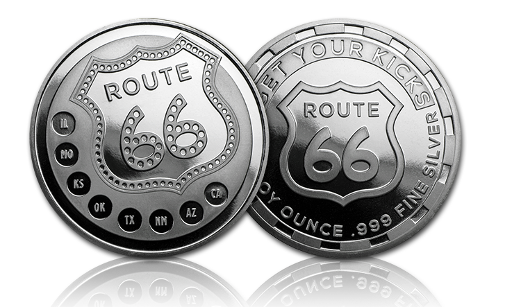 Route 66 Round Obverse and Reverse