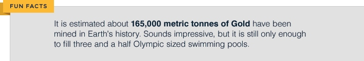 fun facts it is estimated about 165,000 metric tonne of Gold have been mined in earths history sounds impressive but it is still only enough to fill three olympic sized swimming pools
