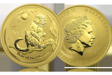 2016 1 oz Gold Lunar Year of the Monkey