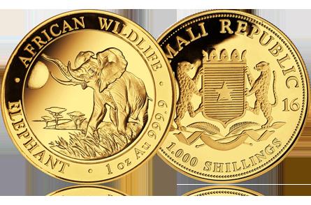 2016 Somalia 1 oz Gold African Elephant
