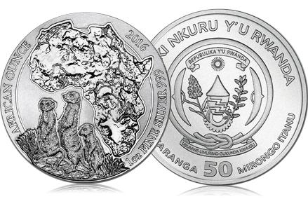 2016 Rwanda 1 oz Silver African Meerkat