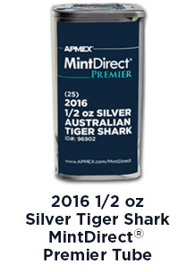 2016 1/2 Ounce Silver Perth Tiger Shark Mint Direct Premier Tube
