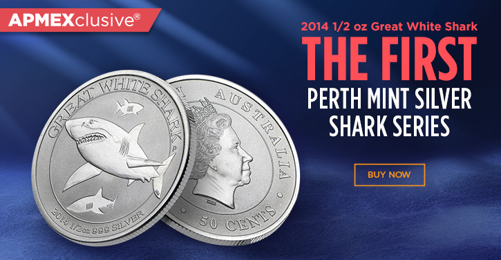 2014 one half ounce great white shark the first perth mint Silver shark series
