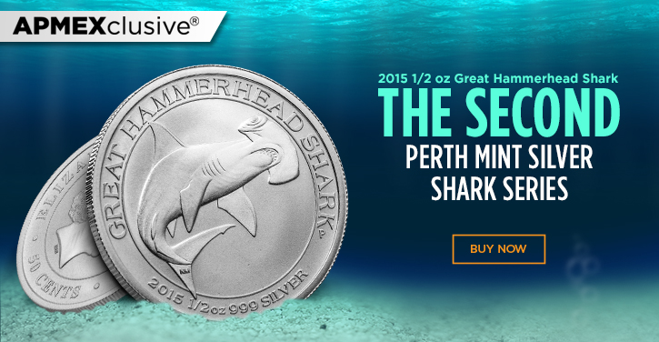 2015 one half ounce great hammerhead shark the second perth mint Silver shark series