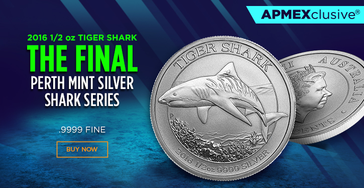 2016 one half ounce tiger shark the final perth mint Silver shark series
