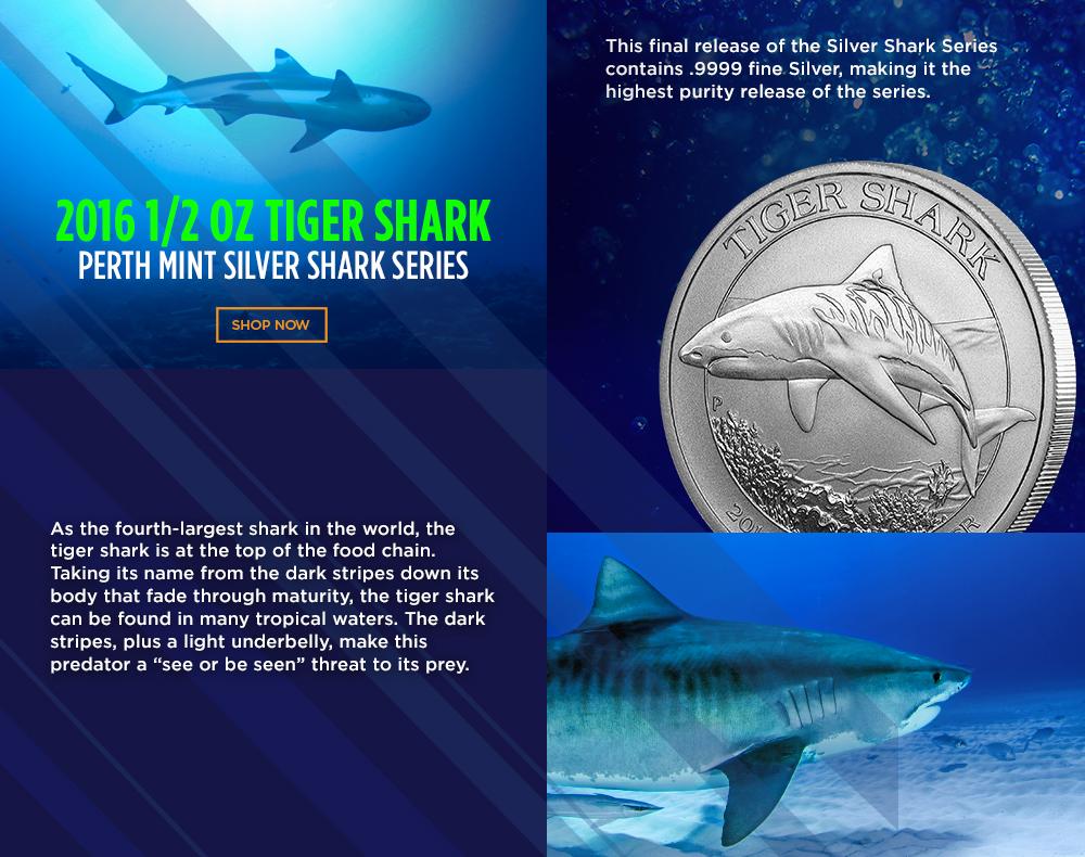 2016 1/2 Ounce Silver Perth Tiger Shark