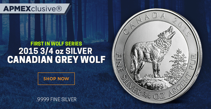 first in wolf series 2015 3/4 ounce Silver canadian grey wolf
