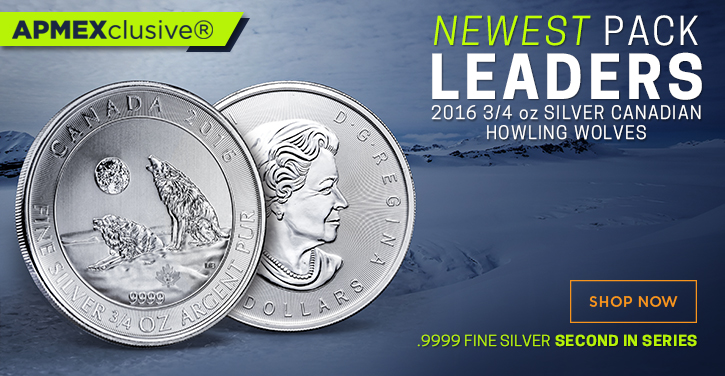 newest pack leaders 2016 3/4 ounce Silver canadian howling wolves