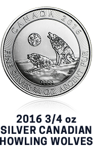 2016 3/4 Ounce Silver Canadian Howling Wolves