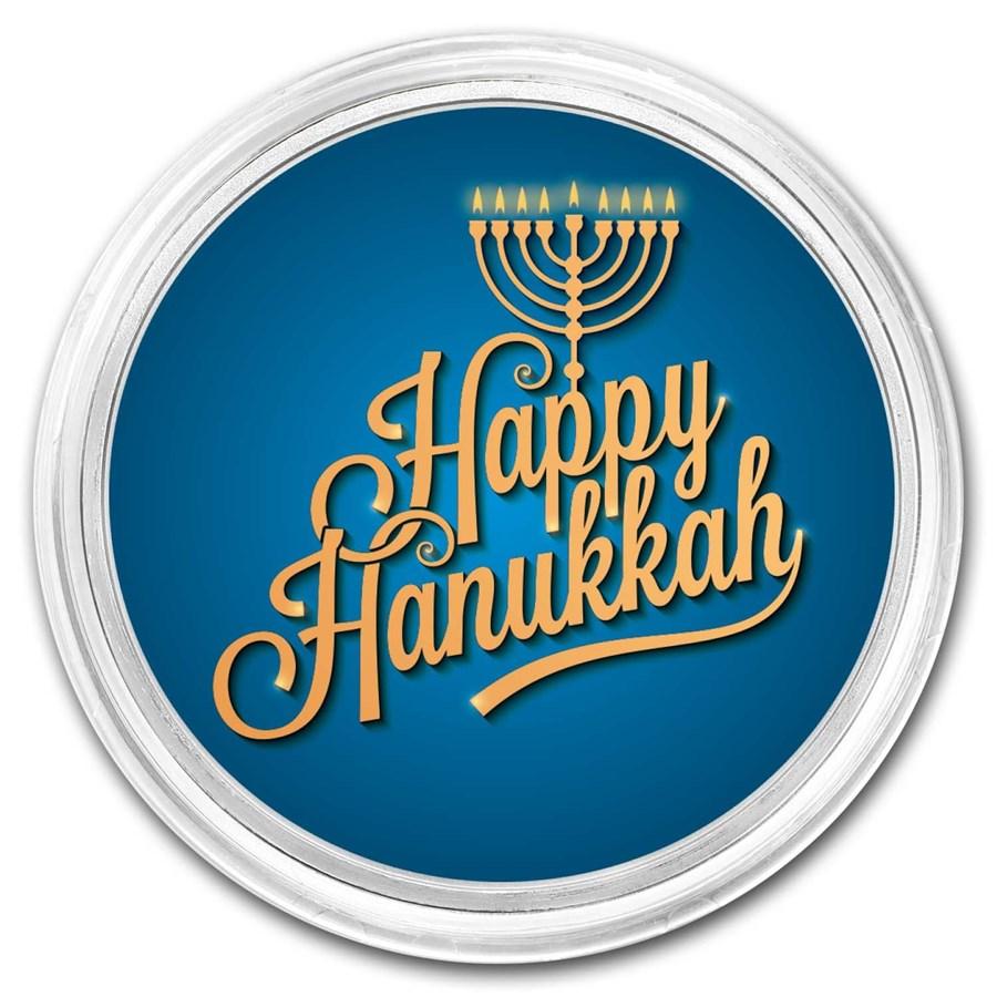 1 oz Silver Happy Hanukkah Colorized Round