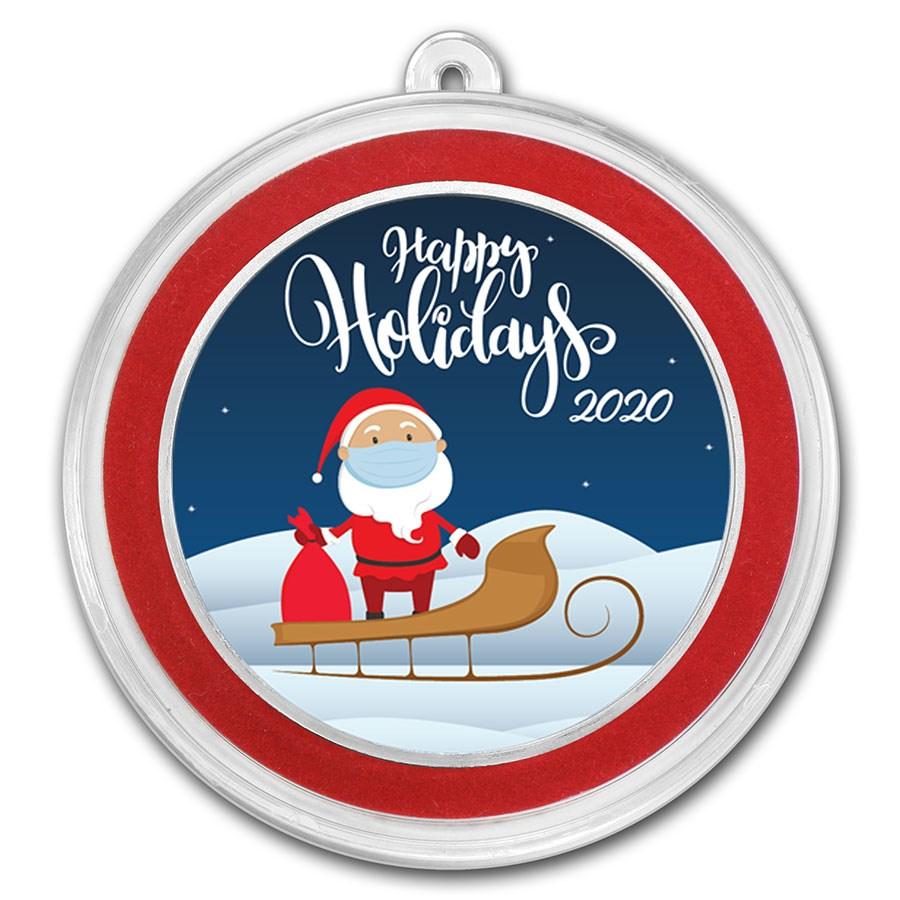 1 oz Silver Santa Colorized Round